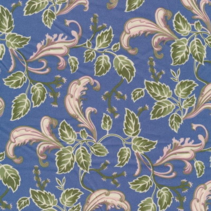 Afklip Patchwork med bladmønster i blå, grøn og beige-31