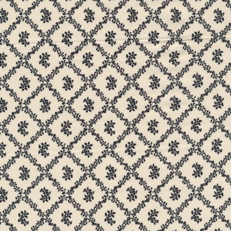 Afklip Patchwork stof i sort og off-white og med rudemønster 50x-33
