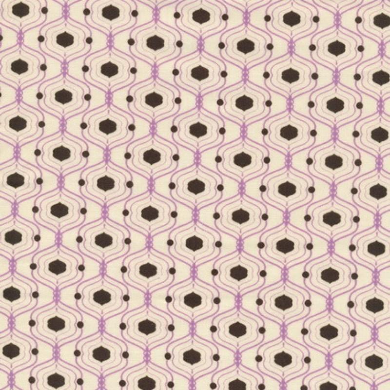 Patchwork stof med kubemønster i off-white, lilla og brun