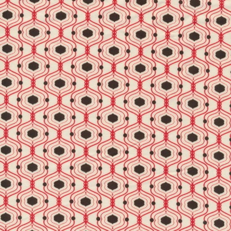 Patchwork stof med kubemønster, off-white, rød og brun-35