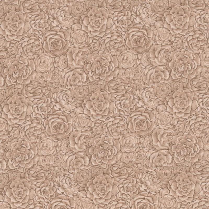 Afklip Patchwork stof med roser og i beige og brun 50x55 cm.-33