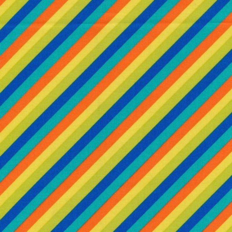 Rest Patchwork stof med skrå striber i kobolt, orange og gul- 80 cm.