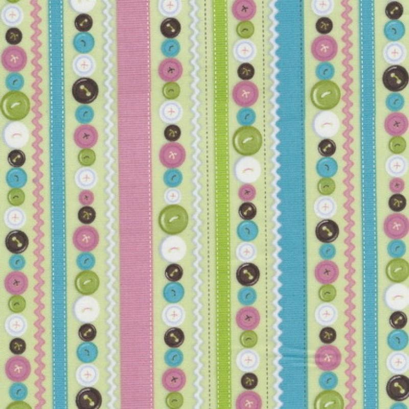 Afklip Patchwork stof striber og knapper, lysegrøn, 50x55 cm
