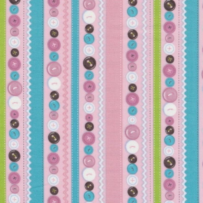 Patchwork stribet stof med knapper i lyserød-35