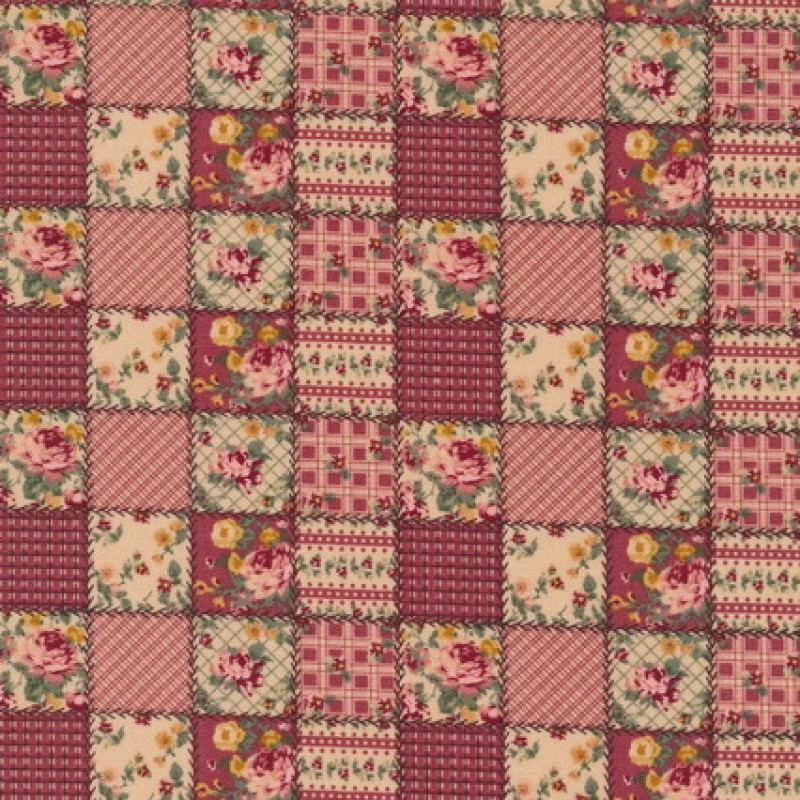 Patchwork ternet lapper stof i rosa og beige-33