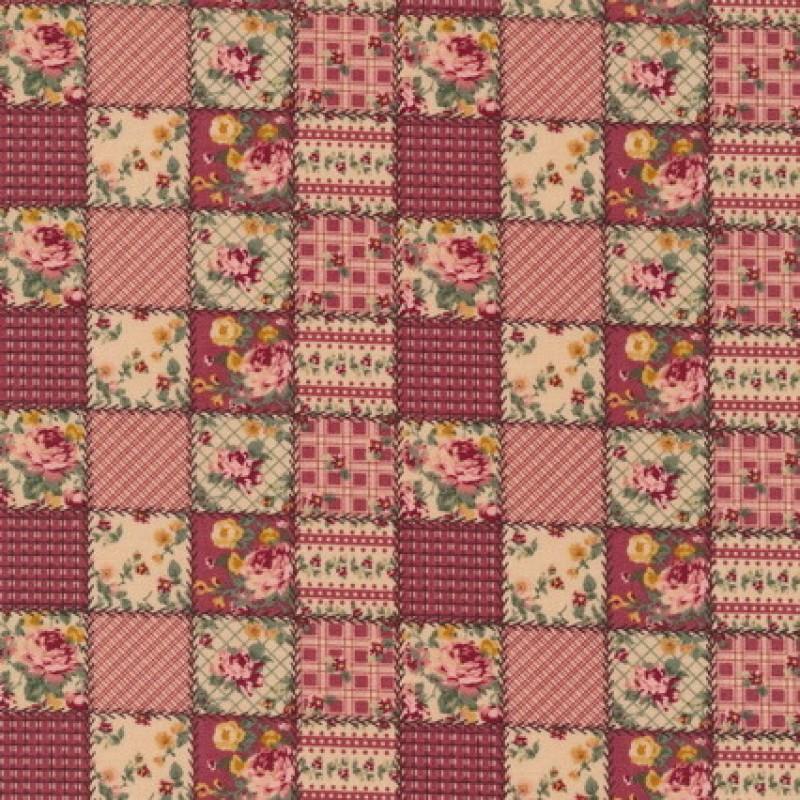 Rest Patchwork stof ternet lapper i rosa og beige 90 cm.-33