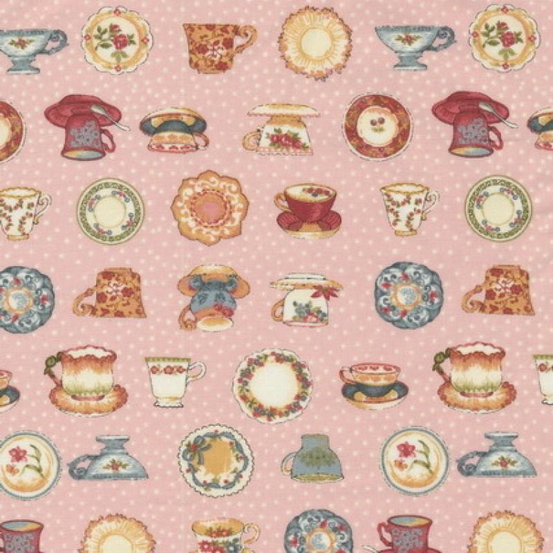 Rest Patchwork stof i rosa med kopper, 25 cm.-31