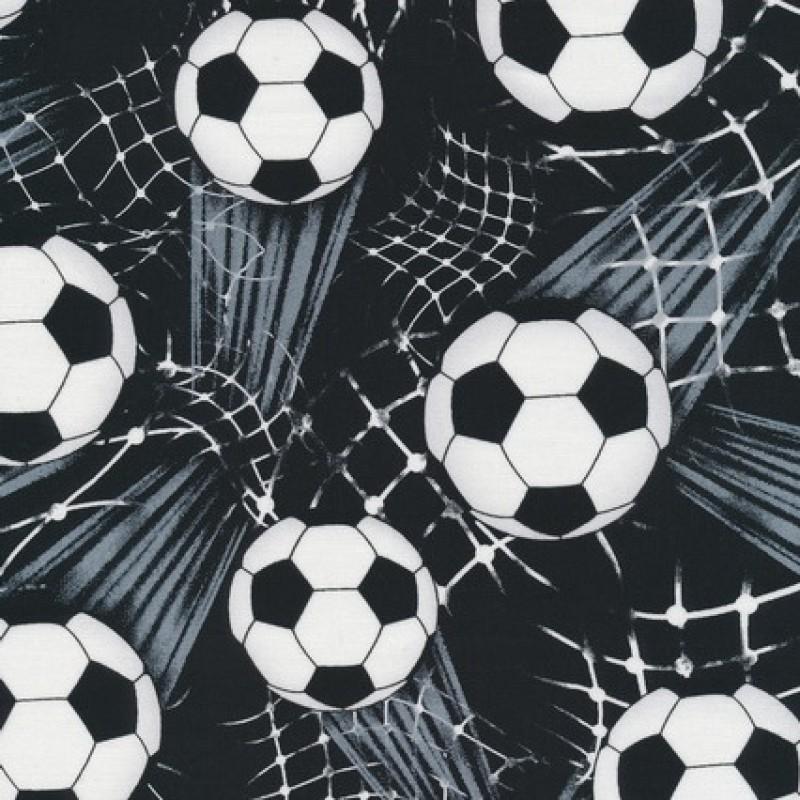 Patchworkstof med fodbold i sort, hvid og grå
