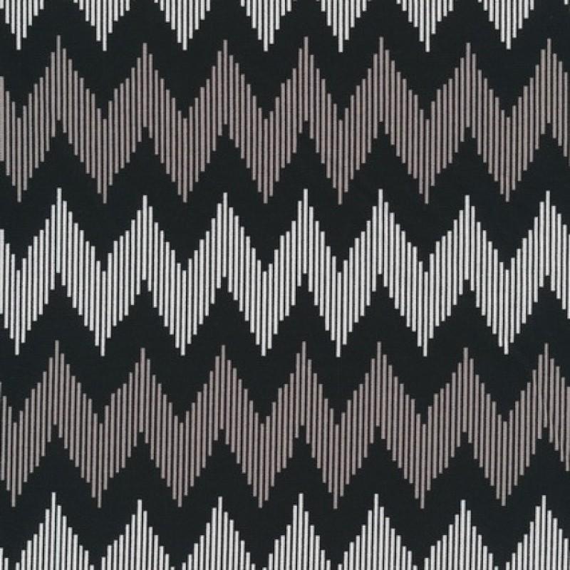 Patchworkstof med zigzag i sort, hvid og beige-33