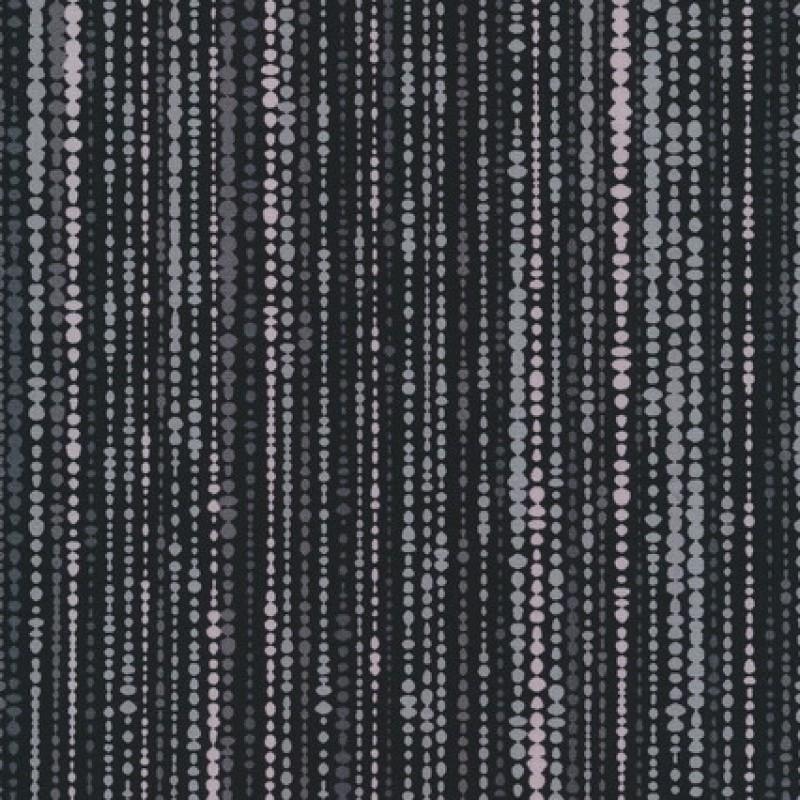 Patchwork stof med bobler og striber i sort og grå-33