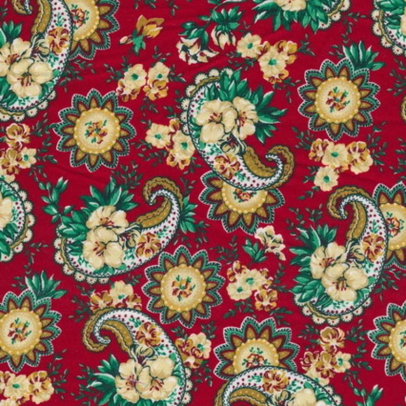 Afklip Patchwork stof i rød med sjalsmønster 50x55cm-33
