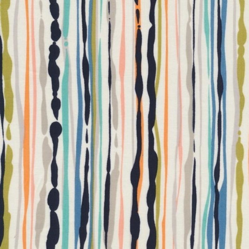Afklip Patchwork stof med malede striber i off-white, 50x55 cm.-33