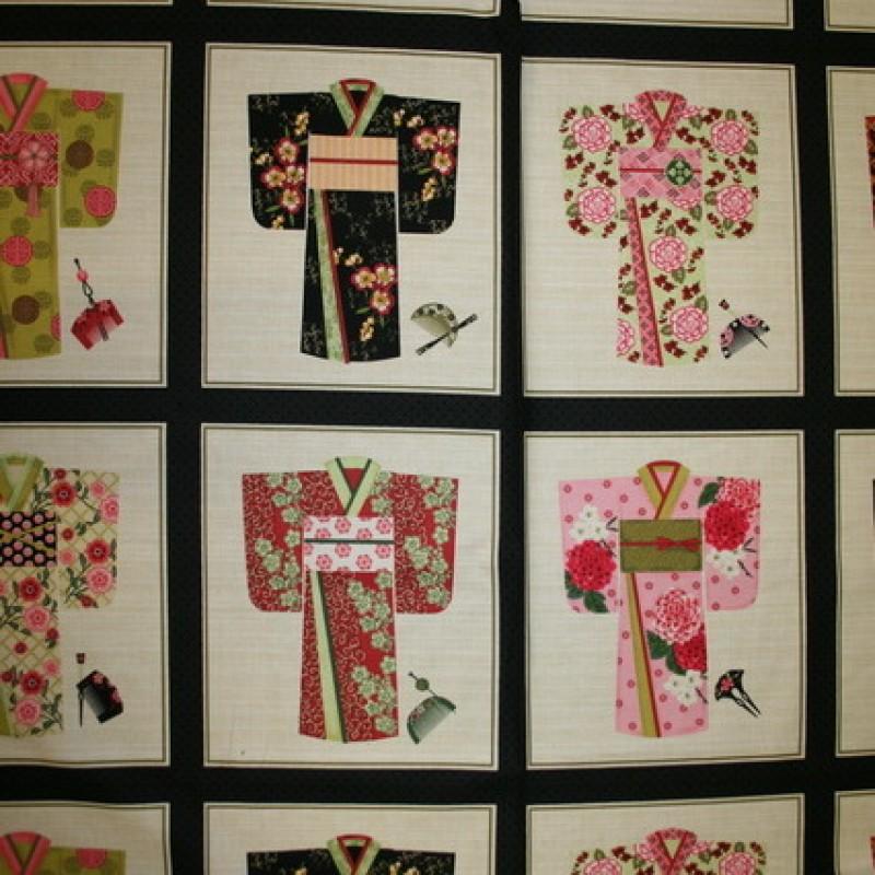 Rapport Patchwork stof med Kimono, 60x110 cm.-33