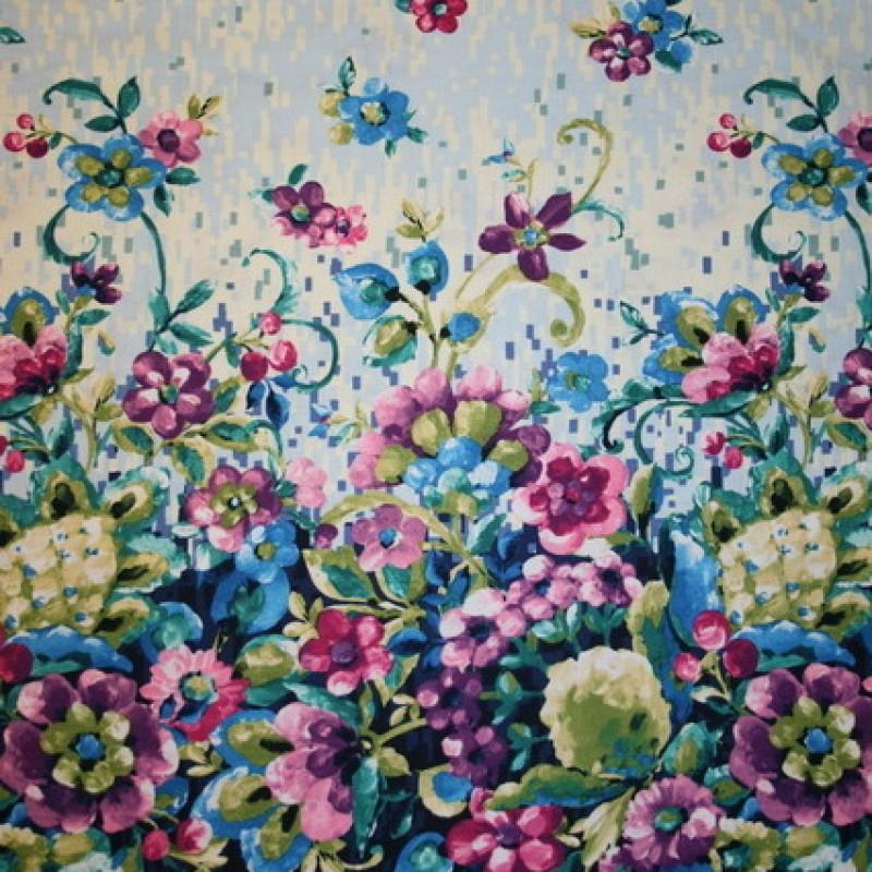 Patchwork stof m/blomster-bort, mørkeblå/cerisse/blå-33
