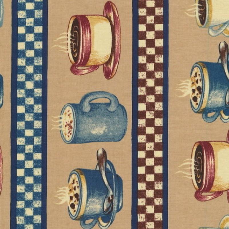 Patchwork stof med kaffekopper og striber i beige og blå-33
