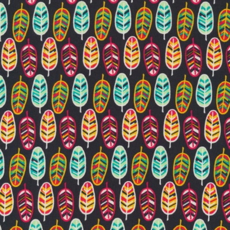 Patchwork bommuldsstof med fjer i mørkebrun, aqua og rød