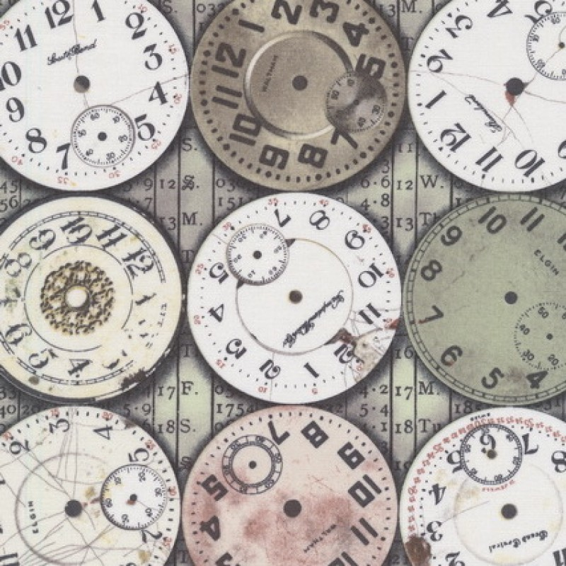 Patchwork stof af Tim Holtz med ure i støvet grøn grå-brun hvid-33