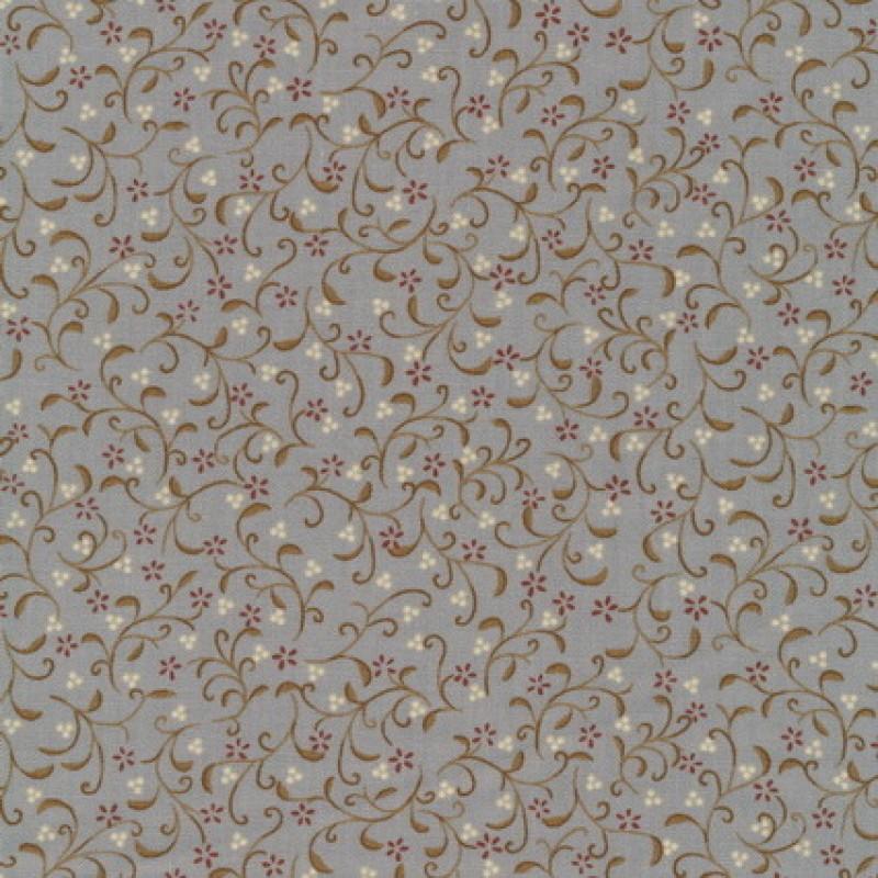 Patchwork stoffet med blomstermønster i lysegrå, oliven og mørk-33
