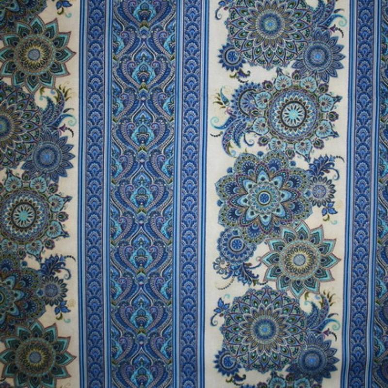 Patchwork stofmetervare Royalty med striber/mønster blå/guld/off-33