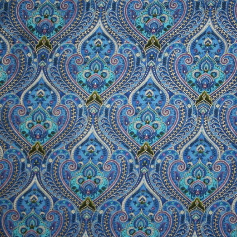 Afklip Patchwork stof Royalty med mønster blå, guld og aqua 50x55 cm.-35