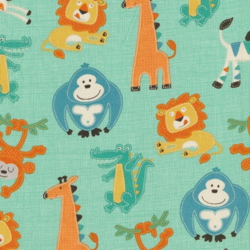 Rest Patchwork stof i mint med elefant, giraf og abe- 28 cm.