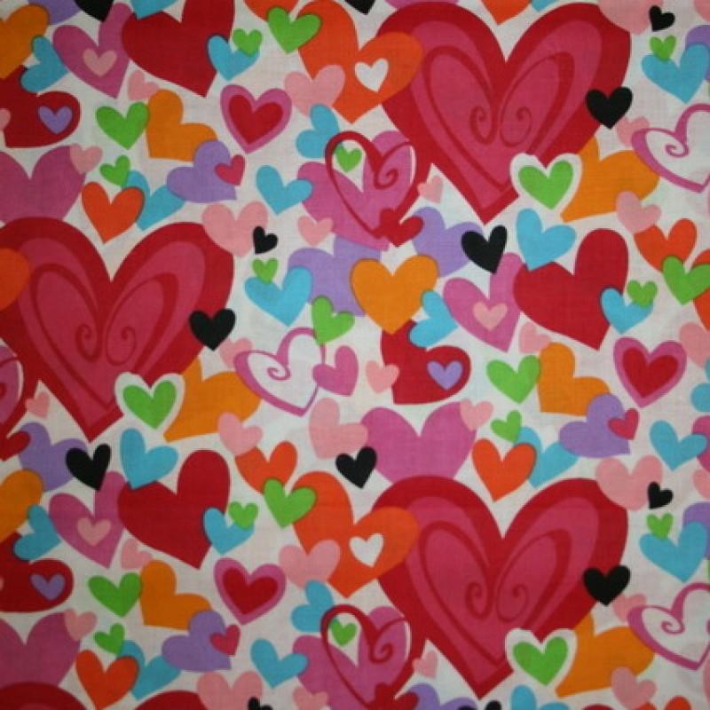 Patchwork stof med hjerter i hvid, rød, pink og orange-35