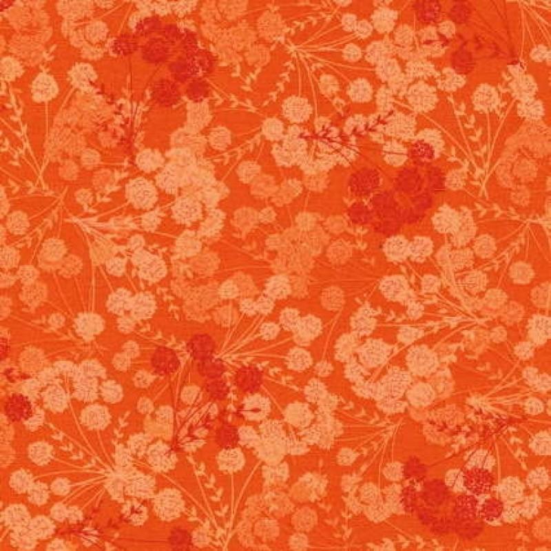 Patchwork stof med blomsterskærme i orange-31