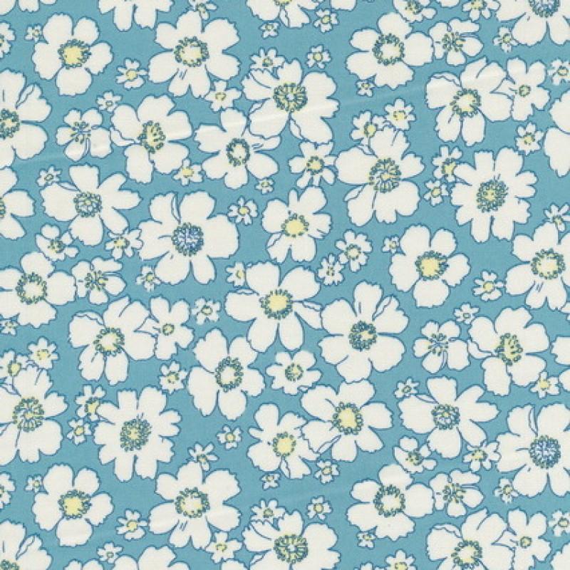 Bomulds-poplin m/blomster, lys turkis/hvid/lysegul