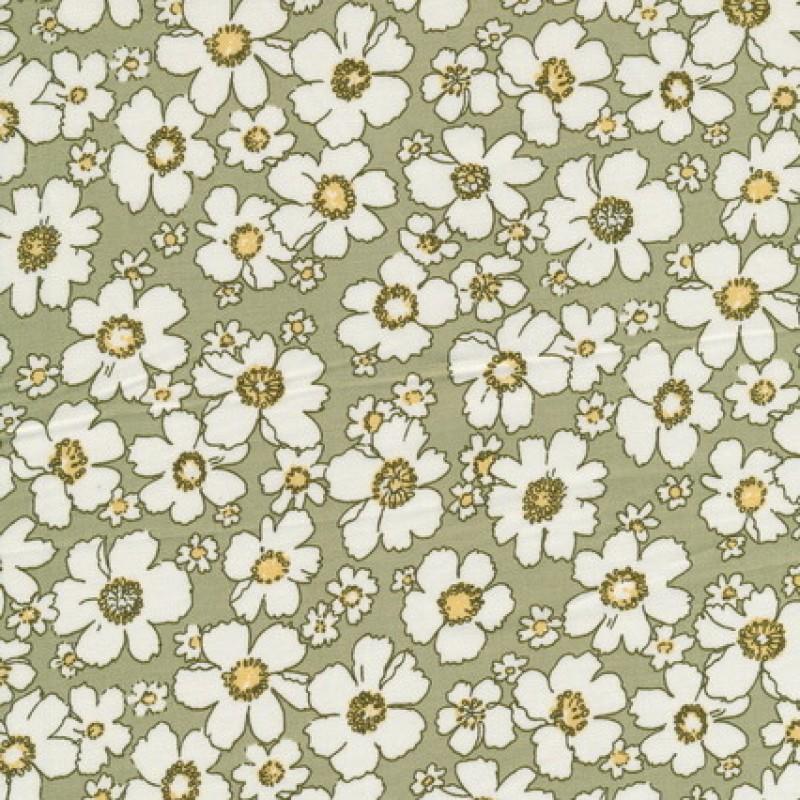 Afklip Bomulds-poplin m/blomster, lys oliven/hvid/lysegul, 50x55 cm.-35