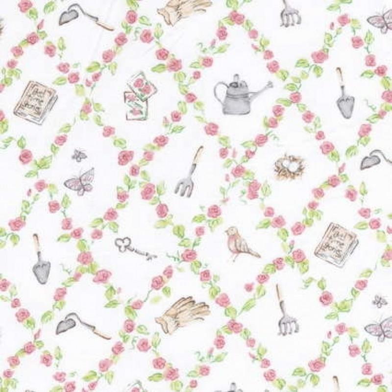 Rest Patchwork stof off-white Melissas Magic garden 38 cm.-31