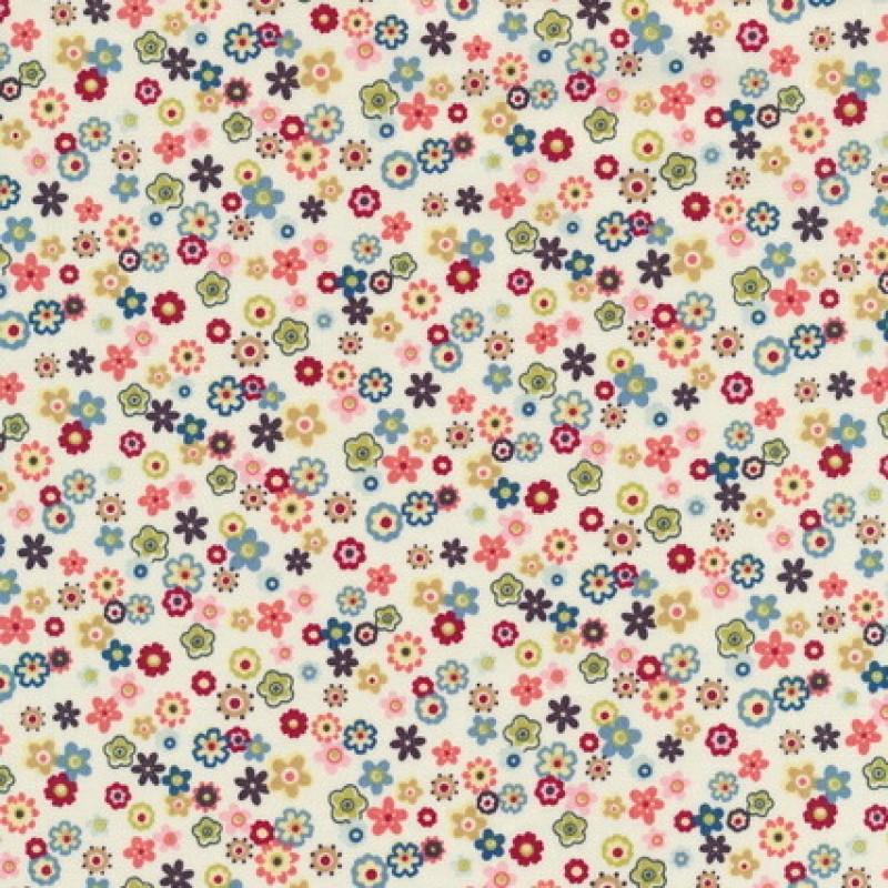 Patchwork stof knækket hvid m/små multifarvede blomster-35