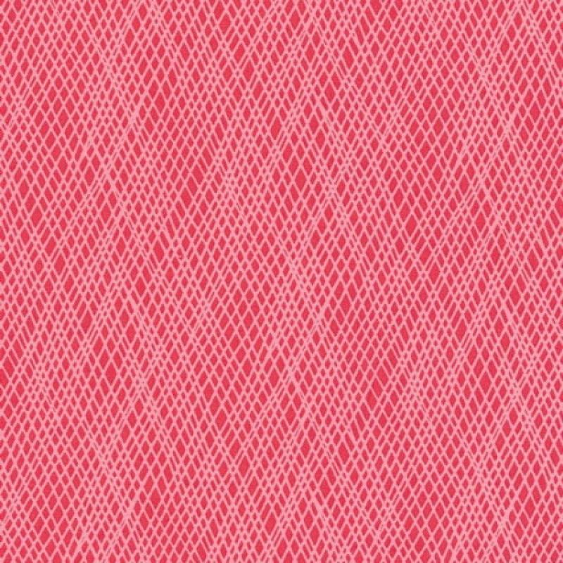 Patchwork stof med skrå striber i koral og lyserød