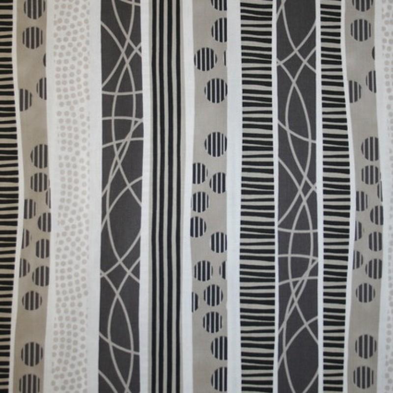 Patchwork stof i hvid, sort og sand med striber-33