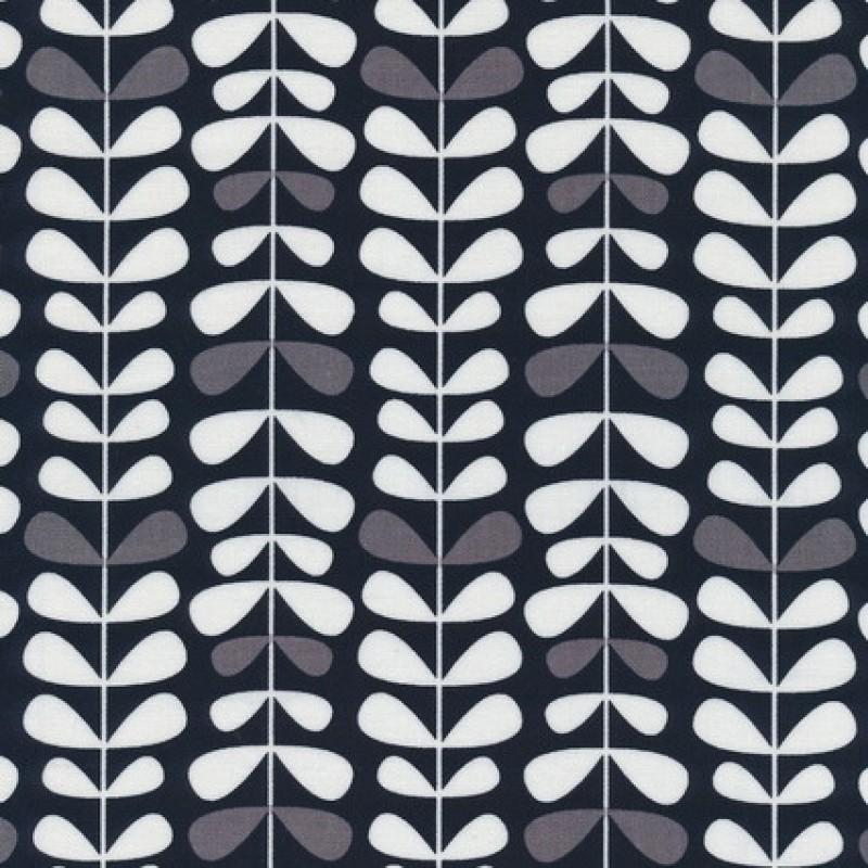 Patchwork stof med bladranker i sort, grå og hvid