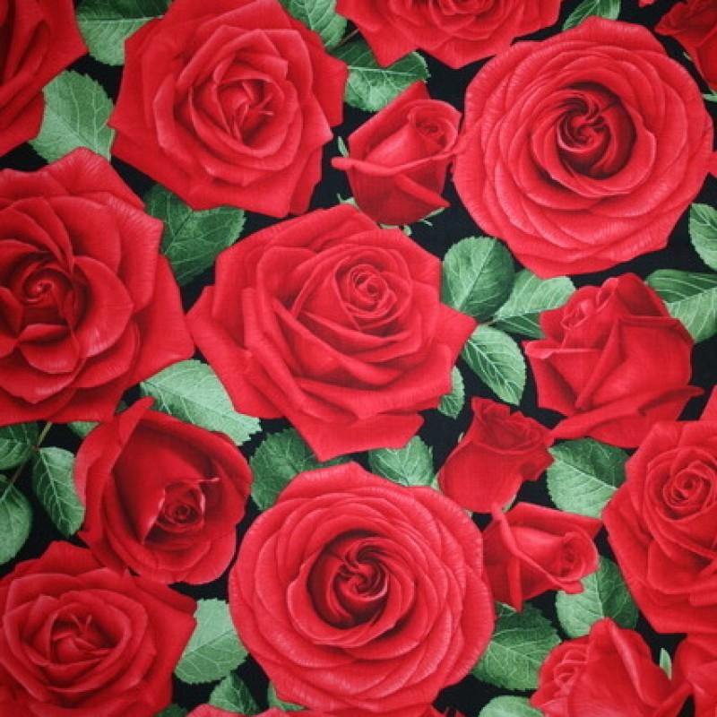 Patchwork stof med roser i rød og grøn-33