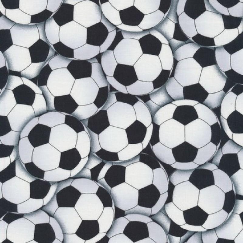 Patchwork stof med fodbold i hvid og sort