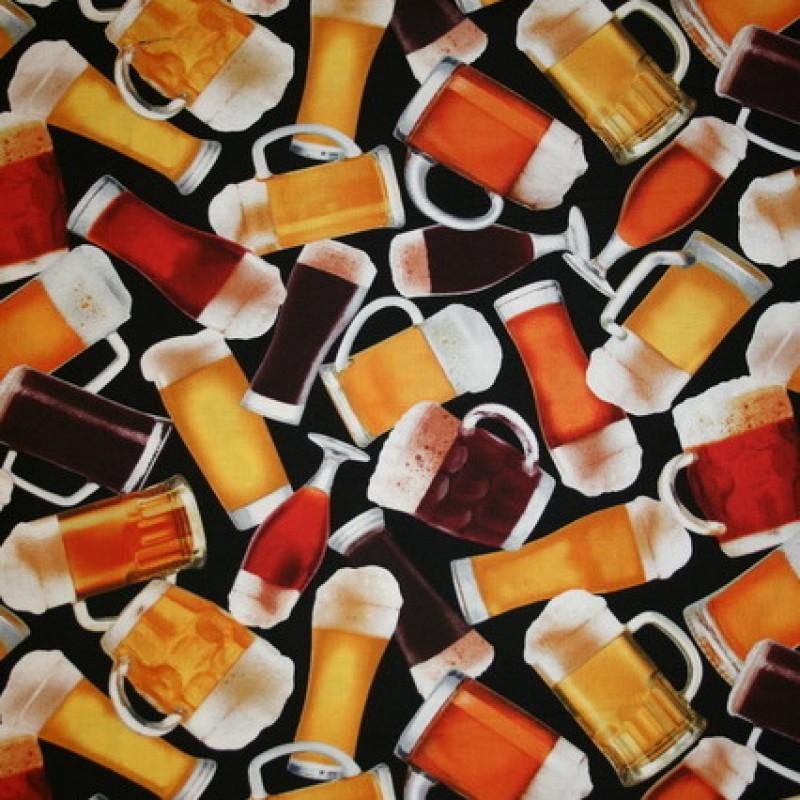 Afklip Patchworkstof af Robert Kaufman med ølglas i mørk armyfarve 50x55 cm.-33