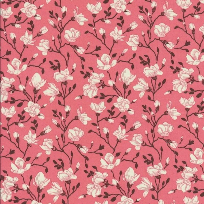Bomulds-poplin med blomster koral brun off-white-37