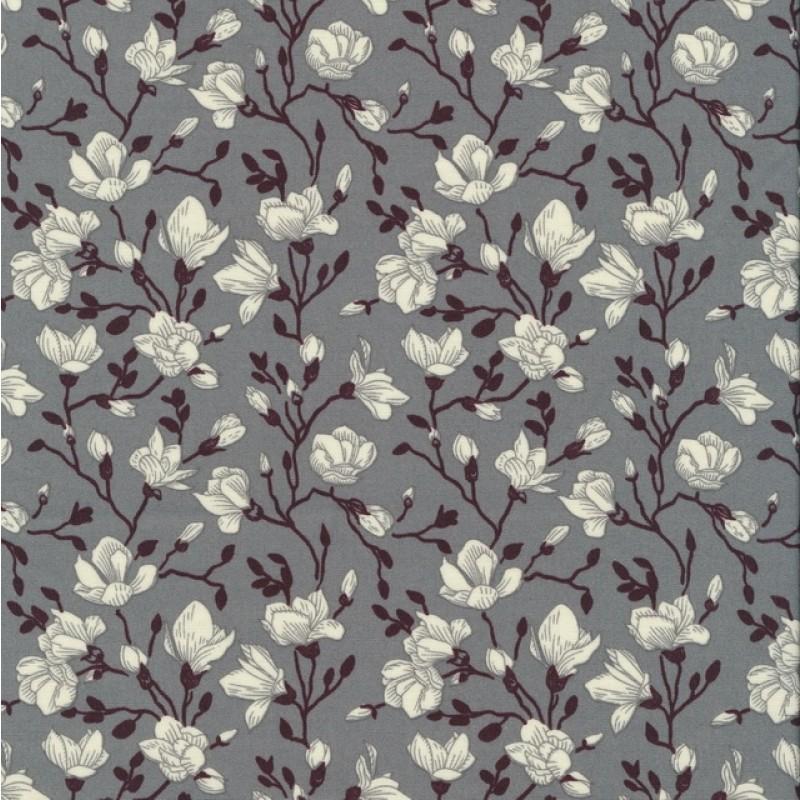 Bomulds-poplin med blomster grå hvid aubergine-38