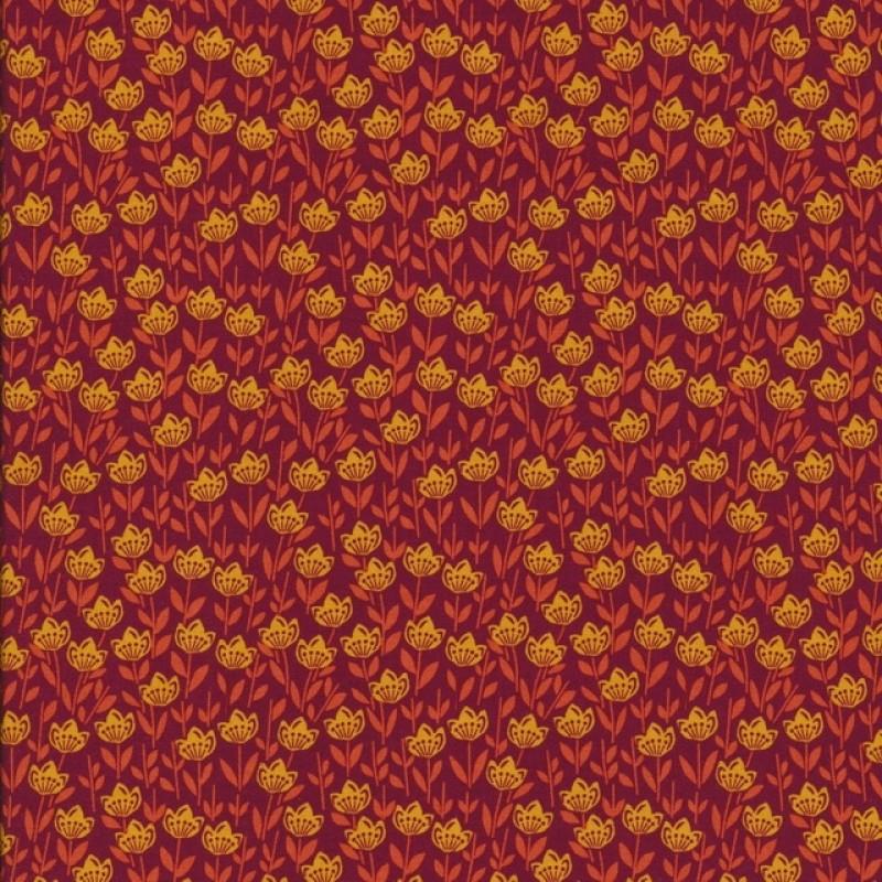 Patchwork stof med blomster mørk rød orange gul-311