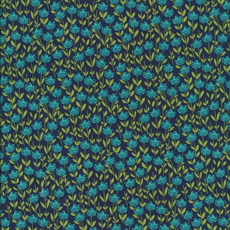 Patchwork stof med blomster mørkeblå petrol lime-312