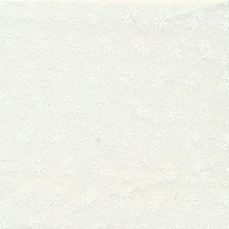Patchwork stof med blomster i knækket hvid og hvid-36