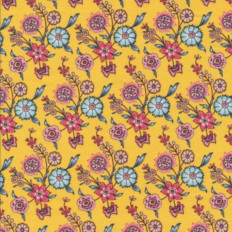 Patchwork stof i lys gul med blomster-38