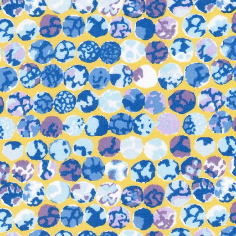 Patchwork af Kaffe Fassett stof med med cirkler i gul