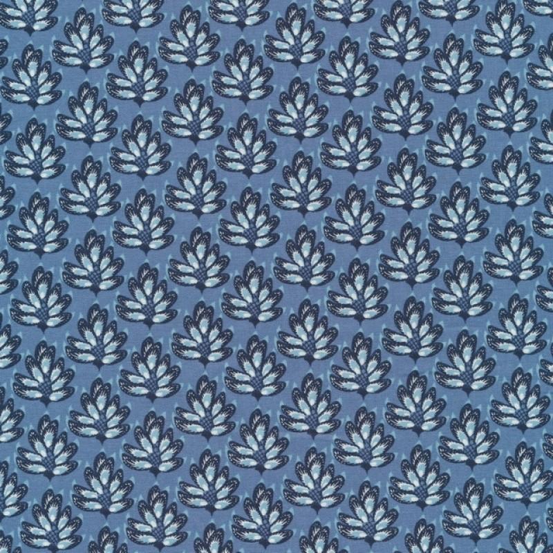 Patchwork stof med blade i denim, hvid og mørkeblå-34