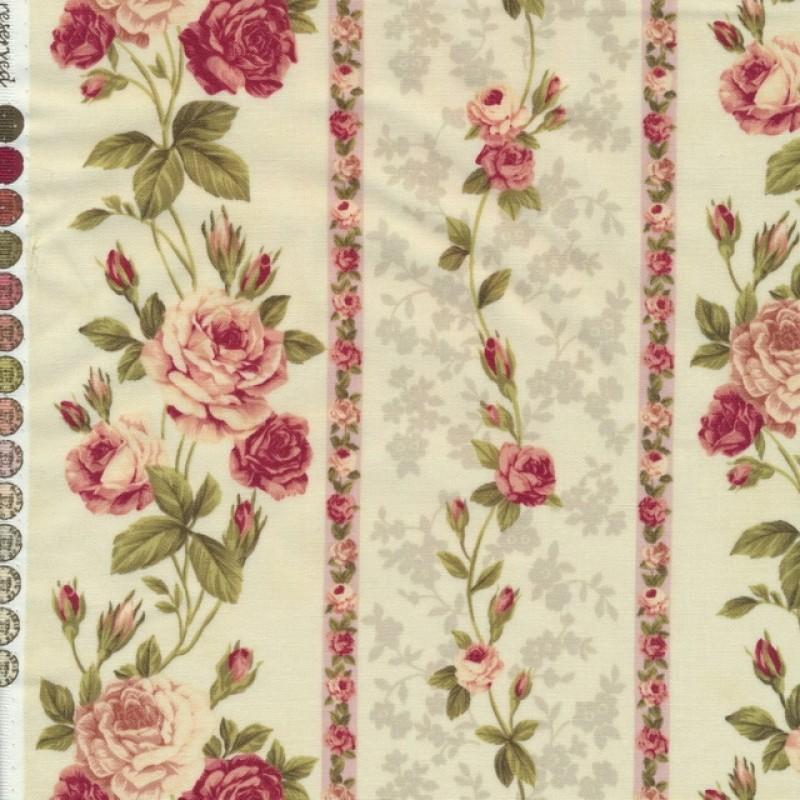 Afklip Patchwork stof creme med roser i striber 50x55 cm.-32
