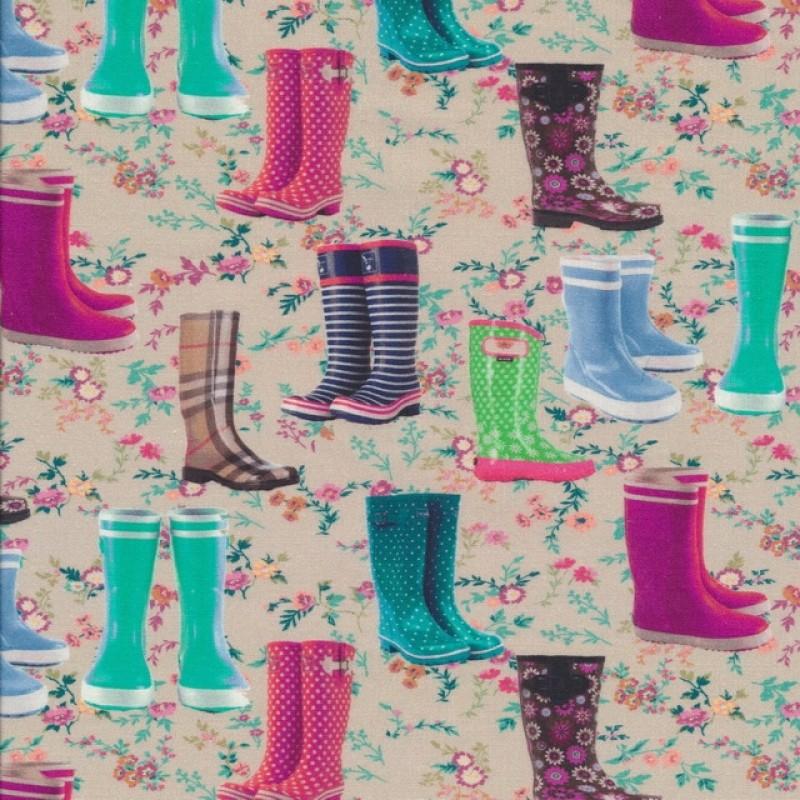 Patchwork stof med forskellige gummistøvler