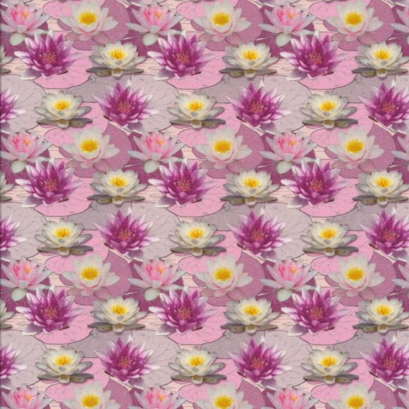 Patchwork stof med åkander i lyserød