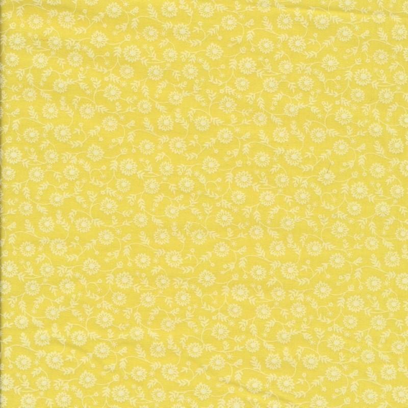 Patchwork stof i citron gul med blomster
