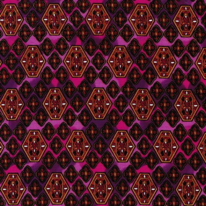 Afklip Patchwork stof i cerisse og pink med rudemønster 50x55cm-35
